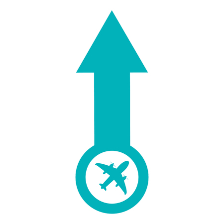 pointing up: flat design arrow pointing up with airplane icon vector illustration