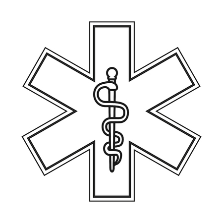 esculapio: flat design rod of asclepius icon vector illustration
