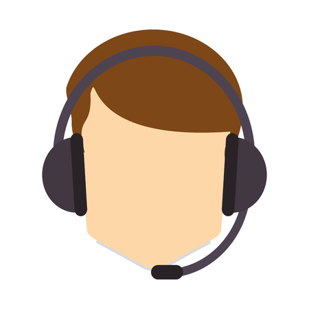 nerdy: flat design male person with headset icon vector illustration