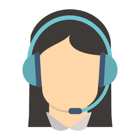 nerdy: flat design female person with headset icon vector illustration Illustration