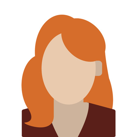 red hair: simple flat design red hair faceless woman portrait icon vector illustration Illustration