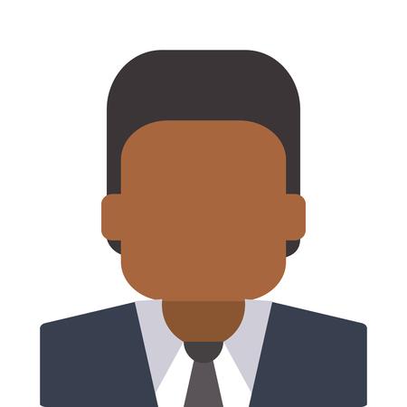 faceless: flat design dark skin faceless man portrait icon vector illustration Illustration