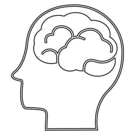 head profile: flat design head profile witn brain icon vector illustration