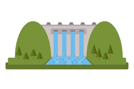 powerhouse: flat design hydroelectric plant icon vector illustration