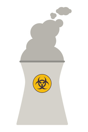 steam turbine: flat design nuclear chimney icon vector illustration