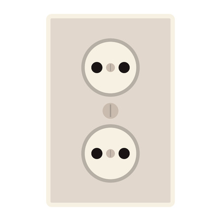 flat design power outlet icon vector illustration