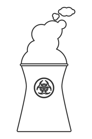 flat design nuclear chimney icon vector illustration