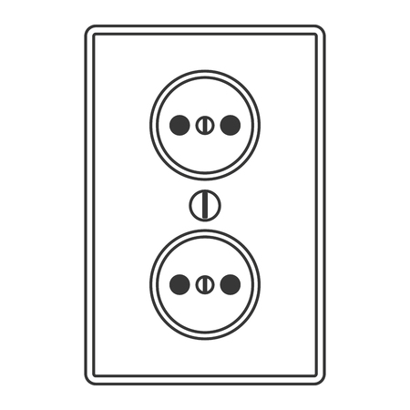 grounded plug: flat design power outlet icon vector illustration