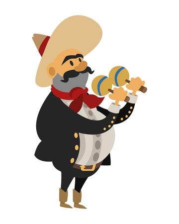 cornet: flat design mariachi musician icon vector illustration Illustration