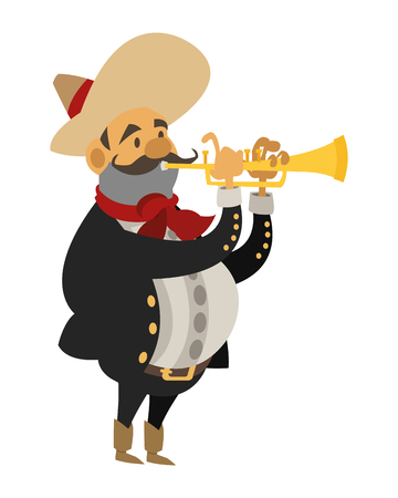 typical: flat design mariachi musician icon vector illustration Illustration