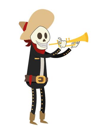 flat design skeleton mariachi icon vector illustration Illustration