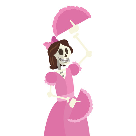 all souls' day: flat design skeleton woman dancing icon vector illustration