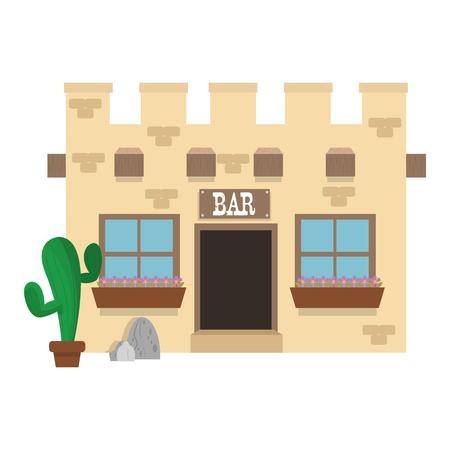 old west: flat design old west bar icon vector illustration Illustration