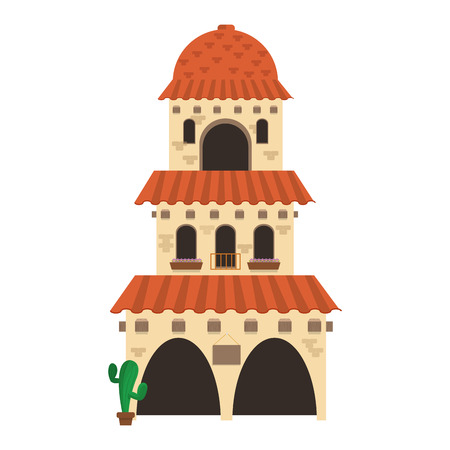 pueblo: flat design spanish colonial architecture icon vector illustration