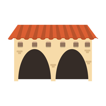 colonial house: flat design spanish colonial architecture icon vector illustration