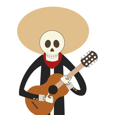 satire: flat design skeleton mariachi icon vector illustration Illustration