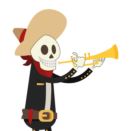 flat design skeleton mariachi icon vector illustration Illustration
