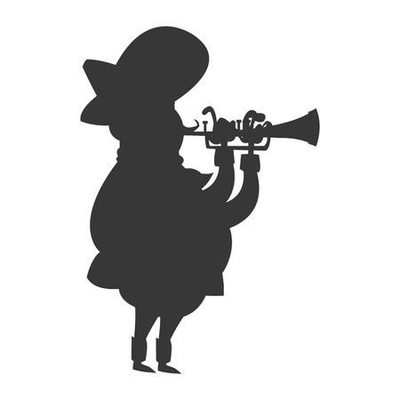 cornet: flat design mariachi musician icon vector illustration silhouette Illustration