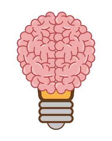 mentality: flat design human brain lightbulb icon vector illustration