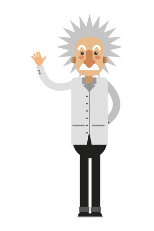 flat design albert einstein cartoon icon vector illustration Stock Illustratie