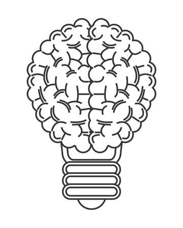 flat design human brain lightbulb icon vector illustration