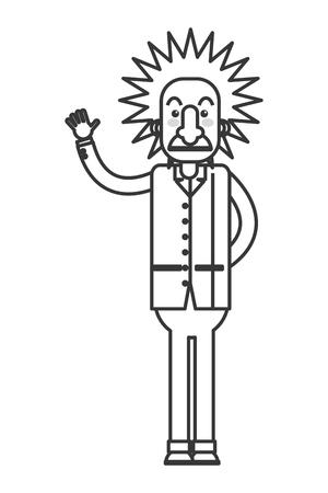 editorial: flat design albert einstein cartoon icon vector illustration Illustration