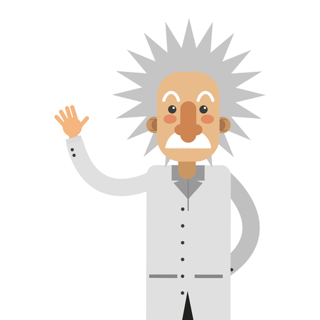 flat design albert einstein cartoon icon vector illustration Illustration