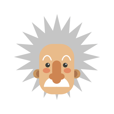 flat design albert einstein cartoon icon vector illustration Vettoriali