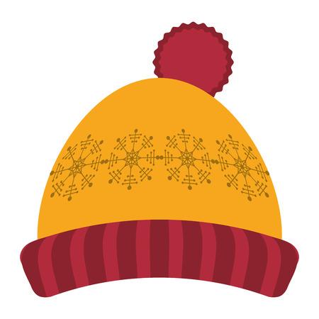 crocheted: flat design winter knit hat icon vector illustration Illustration