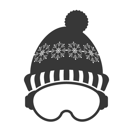 ski mask: flat design ski mask and hat icon vector illustration