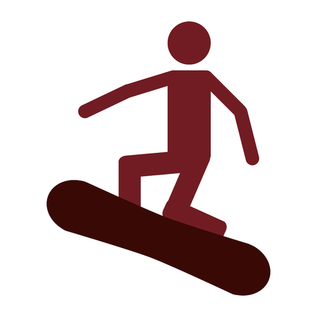 flat design snowboarding pictogram icon vector illustration Illustration