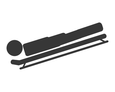 luge: flat design skeleton sport icon vector illustration Illustration