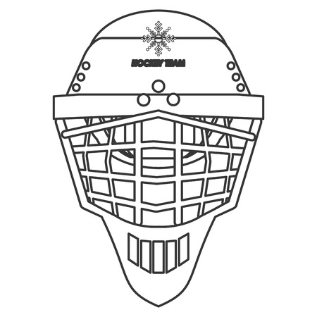 head shot: flat design hockey helmet icon vector illustration Illustration