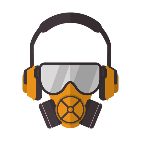 gas mask with protection goggles and isolation headphones icon Illustration