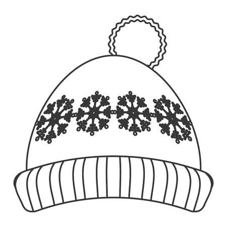 ski wear: flat design winter knit hat icon vector illustration Illustration
