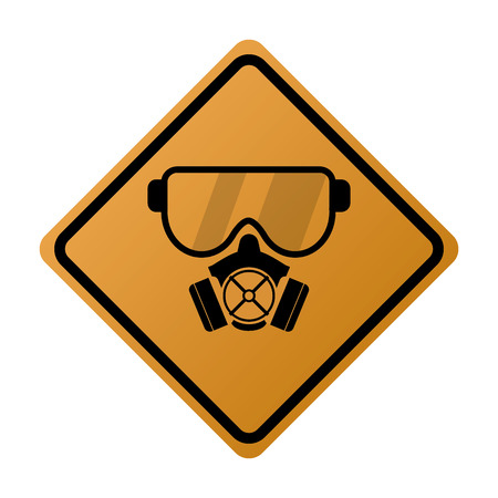 biological warfare: flat design gas mask icon vector illustration sign