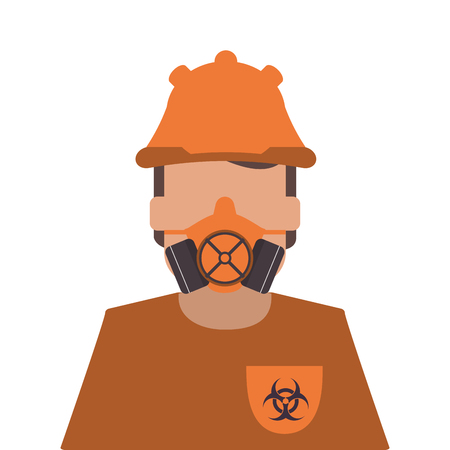 flat design person wearing gas mask icon vector illustration Illustration