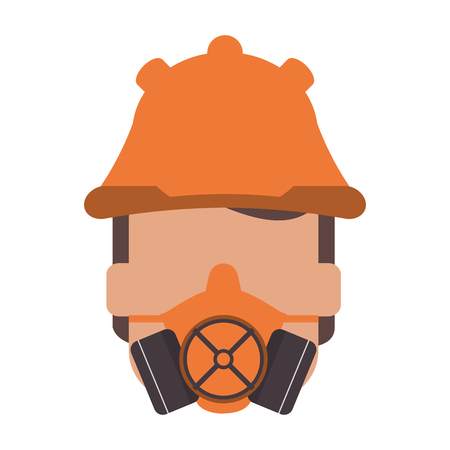 flat design person wearing gas mask icon vector illustration Illustration