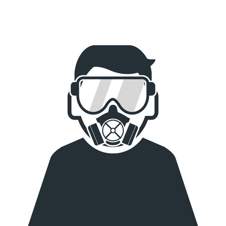 chemical warfare: flat design person wearing gas mask icon vector illustration Illustration