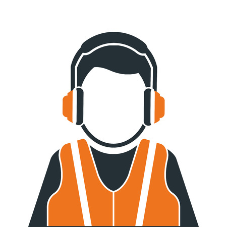 industrial worker: flat design industrial worker icon vector illustration