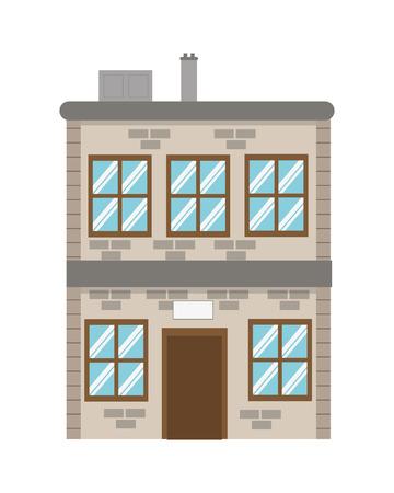 brick building: flat design single brick building icon vector illustration