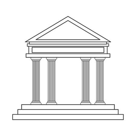 hellenistic: flat design ancient greek building icon vector illustration