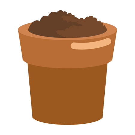 flat design pot with soil icon vector illustration
