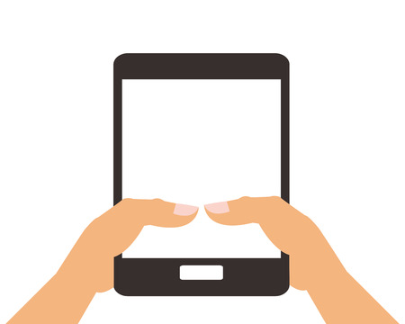 cellphone icon: flat design hand holding modern cellphone icon vector illustration