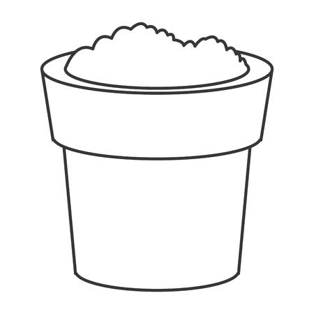 potting soil: flat design pot with soil icon vector illustration
