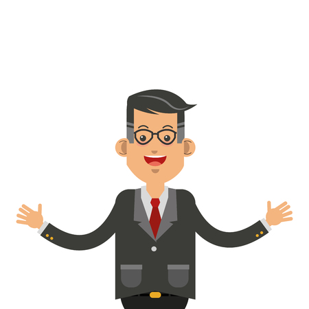 open arms: flat design businessman with open arms icon vector illustration Illustration