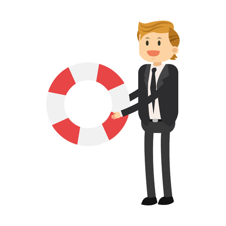 preserver: flat icon businessman with life preserver icon vector illustration