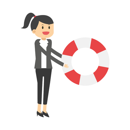 preserver: flat design business woman with life preserver icon vector illustration