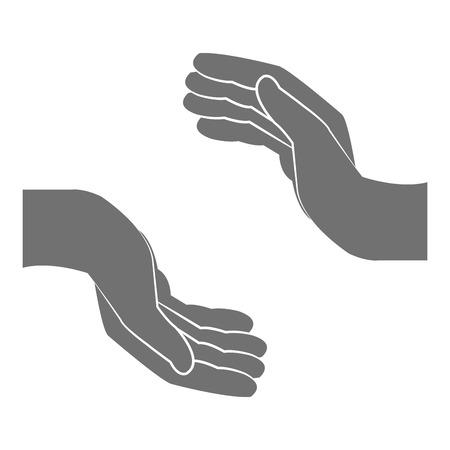 gesticulation: flat design open hand icon vector illustration