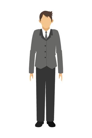 businessman standing: flat design businessman standing icon vector illustration Illustration